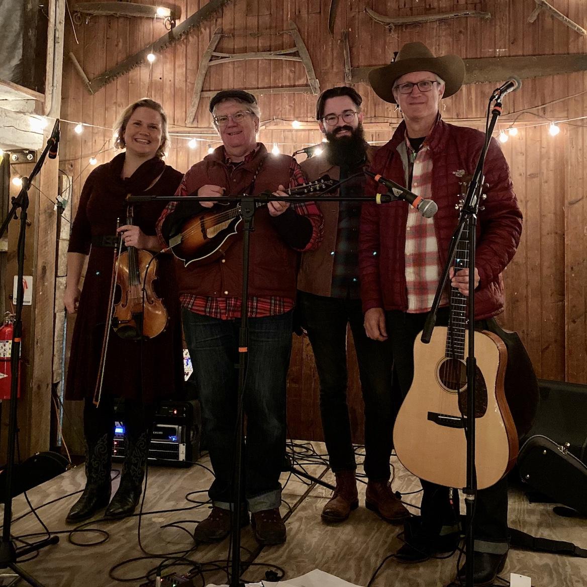 Band photo in a barn